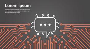Pratstundbubbla över baner för begrepp för system för data för datorChip Moterboard Background Social Media nätverk Fotografering för Bildbyråer