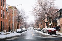 Pratt Street in the snow, in Patterson Park, Baltimore, Maryland.  royalty free stock photo