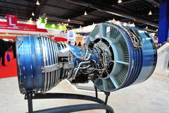 Pratt & Whitney displaying their PW4000 high by-pass turbo fan engine at Singapore Airshow. SINGAPORE - FEBRUARY 12: Pratt & Whitney displaying their PW4000 high stock images