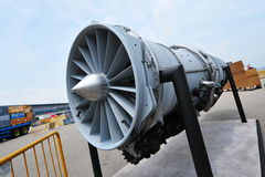 Pratt & Whitney F135 jet engine of Lockheed Martin F-35 fighter on display at Singapore Airshow Stock Image