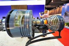 Pratt & Whitney som visar deras höga för turboladdarefan för förbikoppling PW4000 motor på Singapore Airshow Royaltyfri Fotografi