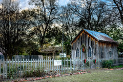 Prattvillage Garden in December. Prattville, Alabama, USA - December 26, 2016: Scenic chapel at Prattvillage Garden decorated with Christmas wreathes Stock Photography