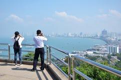 从Pratumnak小山的观点在芭达亚,泰国 免版税库存照片