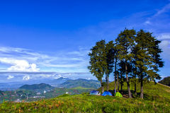 Prau mount campsite. With blue sky stock photo