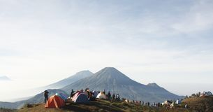 Prau Mountain, Indonesia. Morning view from Prau Mountain, Wonosobo, Indonesia Royalty Free Stock Photos
