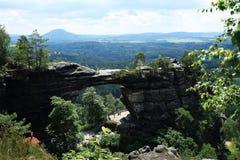 Pravcicka突岩,捷克瑞士,捷克 图库摄影