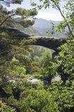 Pravcicka brana是位于捷克瑞士国家公园的狭窄的岩层,与绿叶,天空蔚蓝的晚春风景和 库存照片