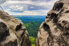 Pravcicka brana the largest natural sandstone arch in Europe in Czech Switzerland National Park Royalty Free Stock Photography