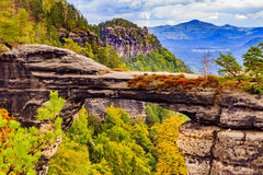 Pravcicka brana the largest natural sandstone arch in Europe in Czech Switzerland National Park Stock Images