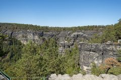 Pravcicka Brana National Park Bohemia Switserland lizenzfreies stockfoto