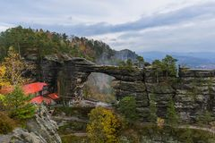 Pravcicka brana rock in Bohemian switzerland - Czech republic. Travel and nature background stock photography