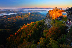 Free Pravcicka Brana Rock Bridge Monument In Autumn Colours. Czech National Park Ceske Svycarsko, Bohemian Switzerland Park, Czech Stock Photo - 75950400