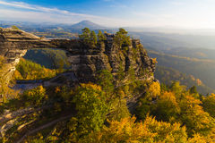 Pravcicka Gate in autumn colors, Bohemian Saxon Switzerland, Czech Republic royalty free stock photography