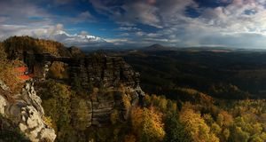 Pravcicka rock panorama. View of Pravcickou gate in Czech Switzerland Stock Images