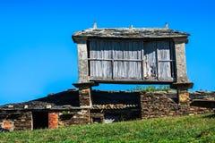 Pravia, old wooden building used as barn. Asturias, Spain Stock Photo