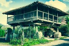 Pravia, old wooden building used as barn. Asturias, Spain Stock Photos