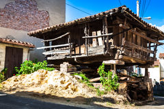 Pravia, old wooden building used as barn. Asturias, Spain Stock Photography