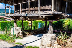 Pravia, old wooden building used as barn. Asturias, Spain Royalty Free Stock Image