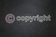 Prawa pojęcie: Copyright i Copyright na chalkboard tle Zdjęcia Stock