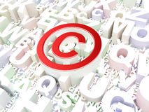 Prawa pojęcie: Copyright na abecadła tle Fotografia Stock