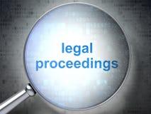 Prawa pojęcie: Kroki Prawni z okulistycznym szkłem Fotografia Stock