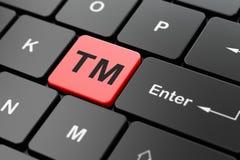 Prawa pojęcie: Znak firmowy na komputerowej klawiatury tle ilustracja wektor
