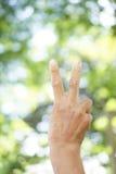 Prawa ręka dźwignięcie języka ciała tło i tekstura Zdjęcie Royalty Free