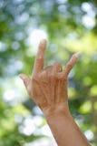 Prawa ręka dźwignięcie języka ciała tło i tekstura Zdjęcia Royalty Free