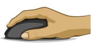 Prawa ręka na komputerowej myszy, odizolowywającej royalty ilustracja