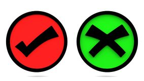 Prawdziwi i fałszywi znaki Poprawne i błędne ikony świadczenia 3 d ilustracja wektor