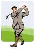 prawdziwy golfiarz z lat trzydziestych teeing Obrazy Stock