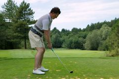 prawdziwy golfiarz z teeing Zdjęcia Stock