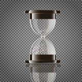 Prawdziwy przejrzysty piaska hourglass odizolowywający na białym tle Prosty i elegancki szkło zegar Piasek zegarowa ikona 3d zdjęcie royalty free