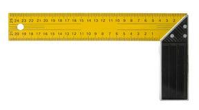 Prawego kąta kwadrata narzędzie odizolowywający na bielu Fotografia Royalty Free