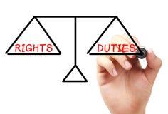Prawicy i obowiązek równowaga fotografia stock