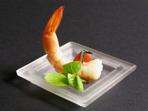 Prawn apetizer 2. Yummi prawn apetizer in a glass plate stock image
