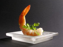 Prawn apetizer. Yummi prawn apetizer in a glass plate stock photos