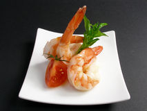Prawn appetizer 12. Yummi prawns appetizer in a plate royalty free stock photo