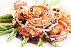 Prawn with asparagus Royalty Free Stock Image
