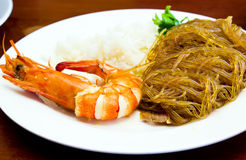 Prawn and cellophane noodle fried Stock Photography