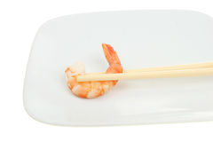 Prawn and chopsticks Royalty Free Stock Photos