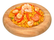 Prawn And Chorizo Paella In Wood Bowl Stock Photo