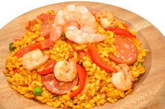 Prawn And Chorizo Paella In Wood Bowl Stock Photography