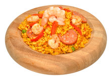 Prawn And Chorizo Paella In Wood Bowl Royalty Free Stock Photo