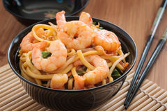 Prawn Chow Mein. Or Lo Mein stir fried prawns with egg noodles vegetables and bean sprouts stock photo