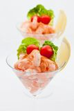 Prawn cocktail appetizer with cocktail tomatoes Royalty Free Stock Images