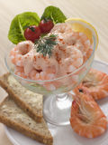 Prawn Cocktail In A Glass With Brown Bread Royalty Free Stock Photography