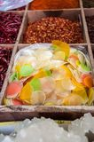 Prawn crackers and dried chillies for sale in a spice market in Beijing, China Stock Image