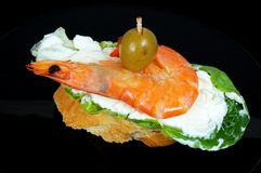 Prawn and cream cheese pincho. Stock Photo
