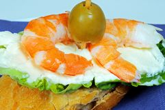 Prawn and cream cheese pincho. Royalty Free Stock Images